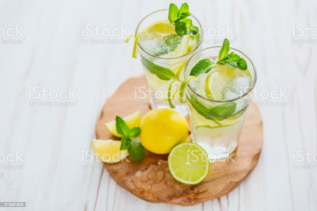 mojito on wooden background stock photo