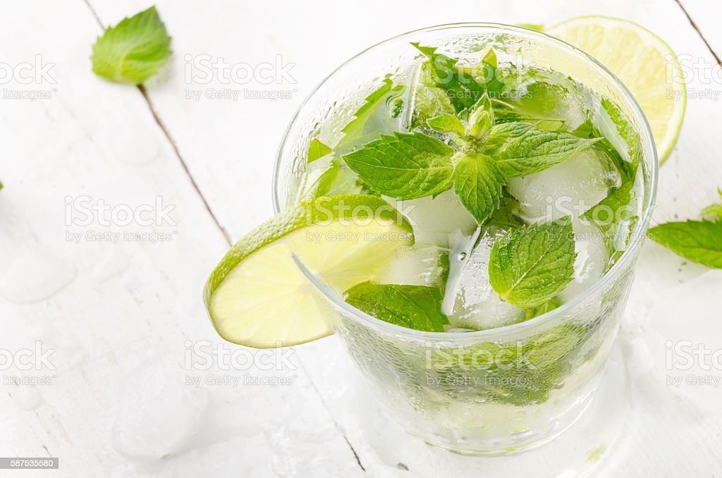 Mojito with lime stock photo