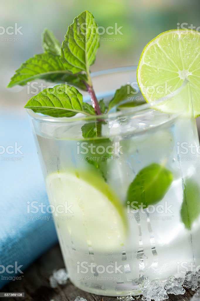 Mojito with rum, lime and mint stock photo