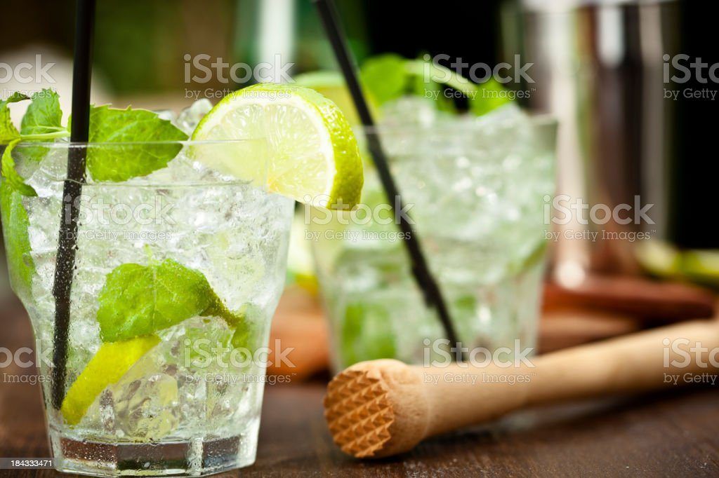 Mojito with White Rum, Lime, Mint and Crushed Ice stock photo