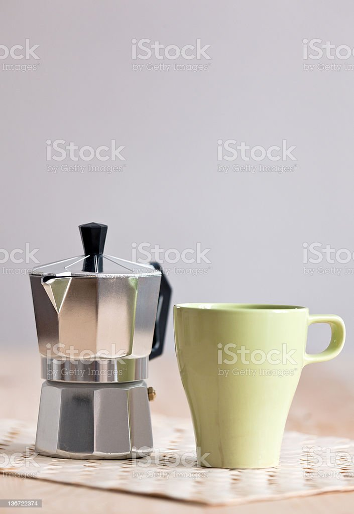 Moka and Coffee Cup royalty-free stock photo