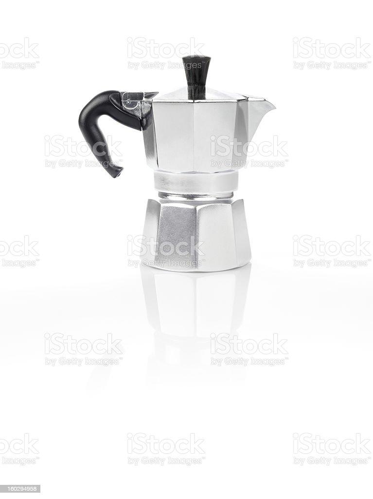 Moka Pot, italian espresso machine coffee maker and its reflection stock photo
