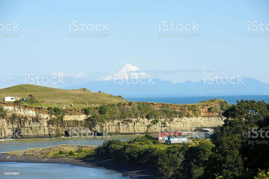 Mokau with Mount Taranaki in the Background stock photo