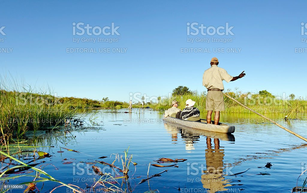 Mokoro trip in the Okavanga Delta in Botswana stock photo
