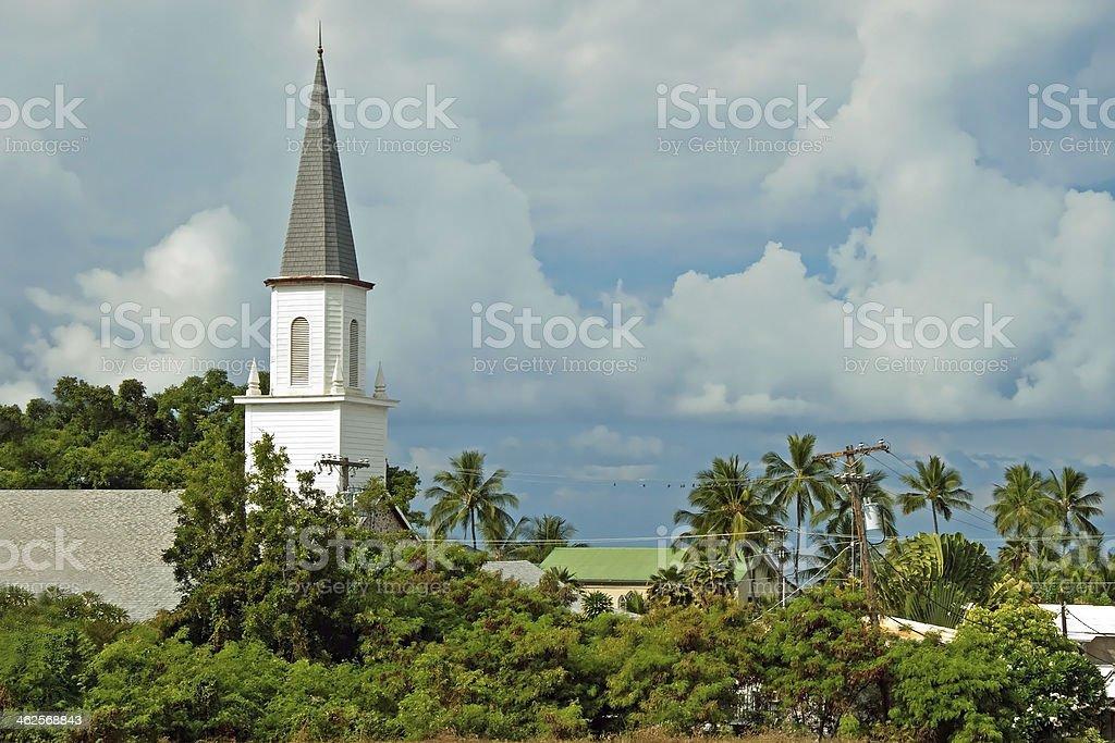 Mokuaikaua church in Kona on Big Island of Hawaii royalty-free stock photo