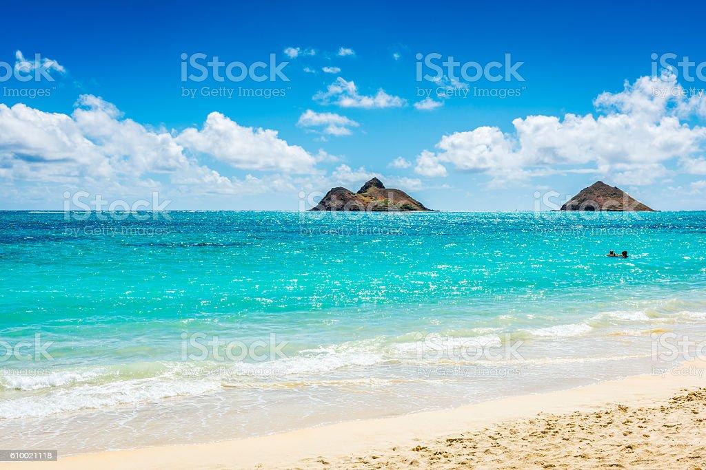 Mokulua Islands as seen from Lanikai Beach in Oahu, Hawaii stock photo
