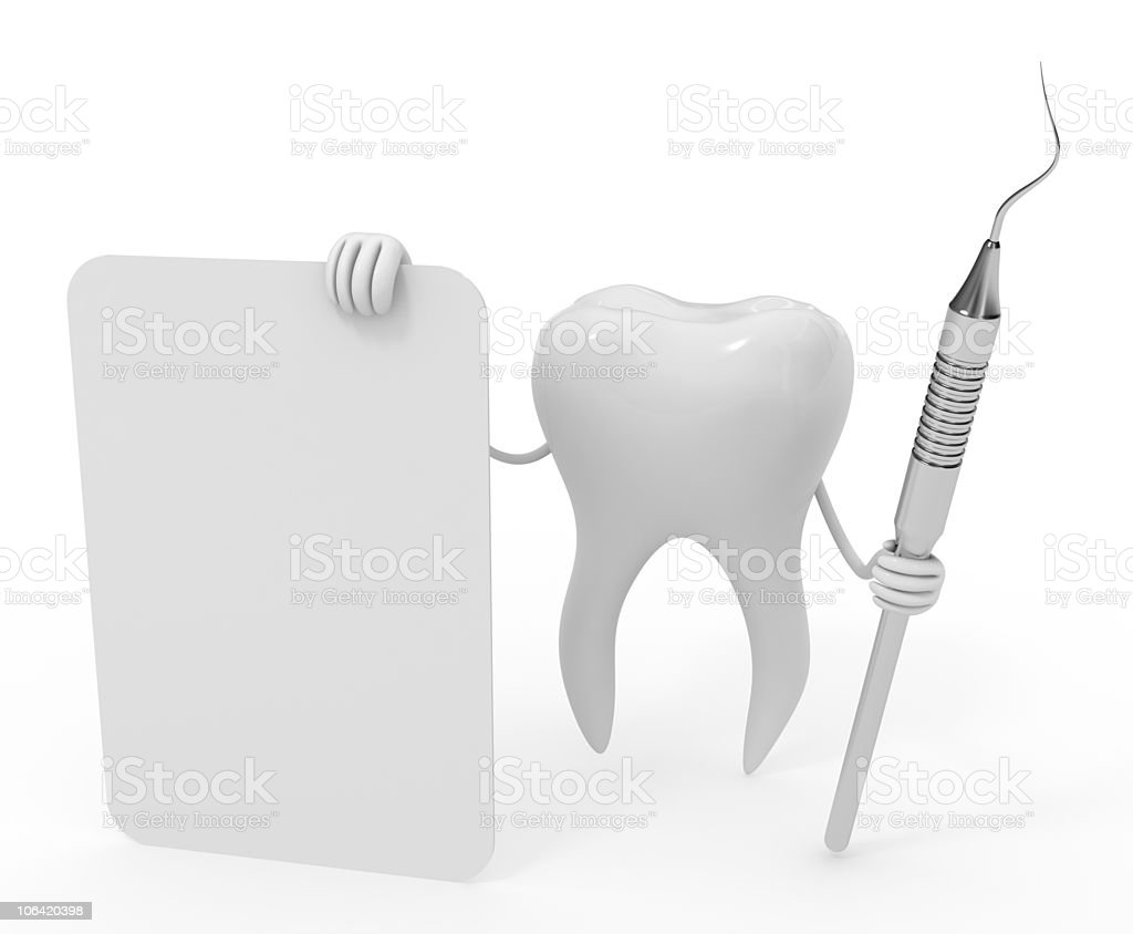 molar with dental tools royalty-free stock photo