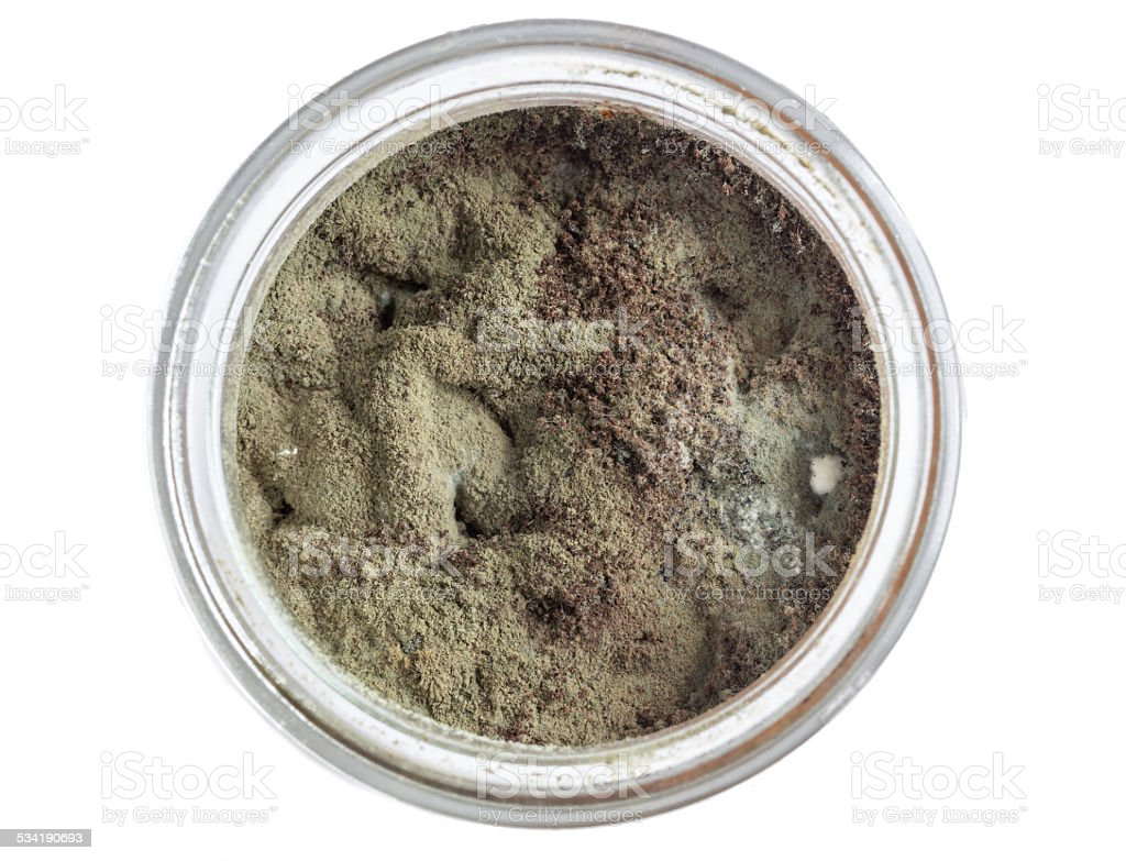 Mold in a glass bird's eye view stock photo