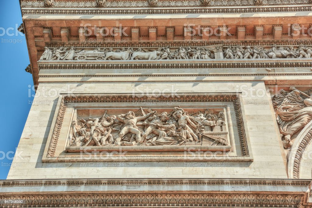 Moldings and decorations on the Arc de Triomphe in  Paris. France. stock photo