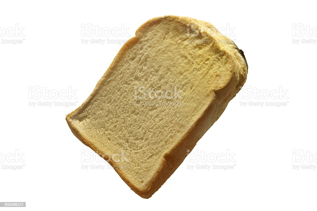 Moldy bread. Isolated on white background. stock photo