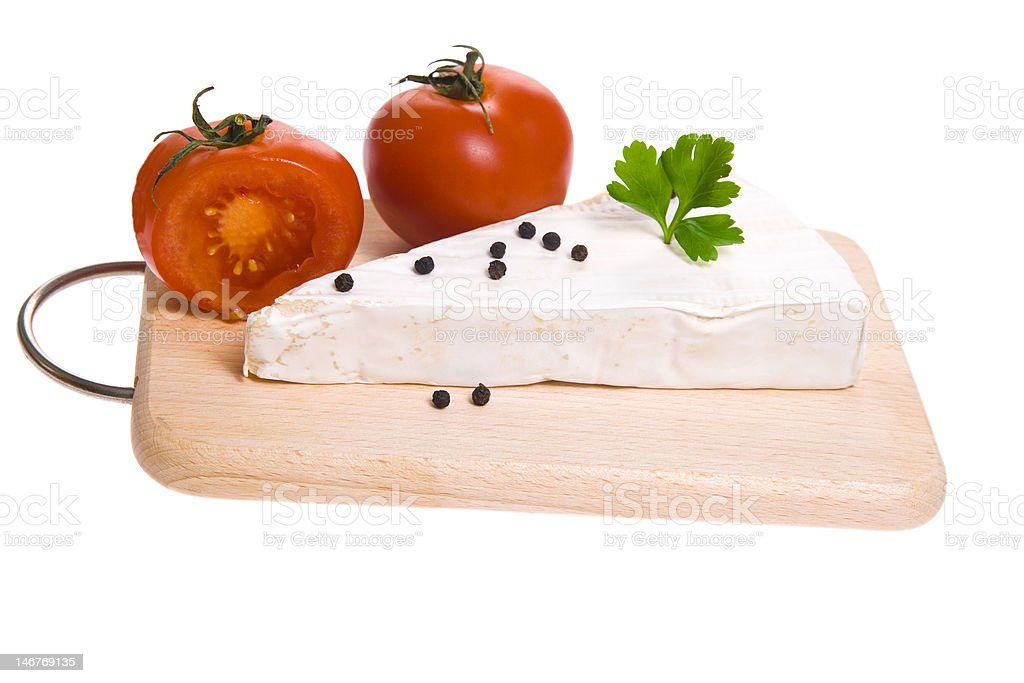 Moldy Cheese on cutting board stock photo