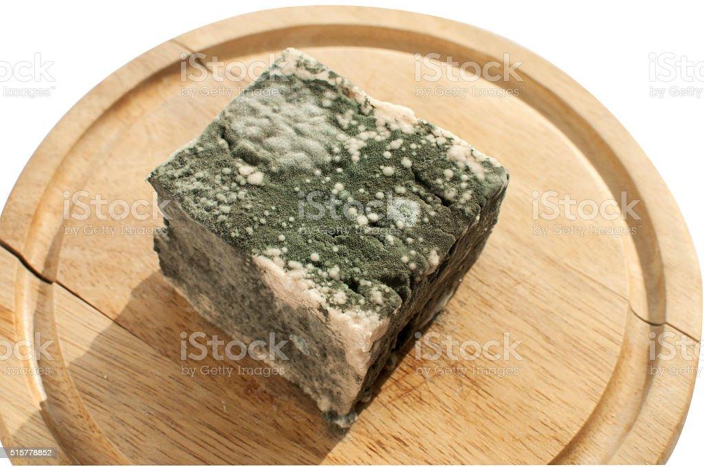 Moldy lump of cheese stock photo