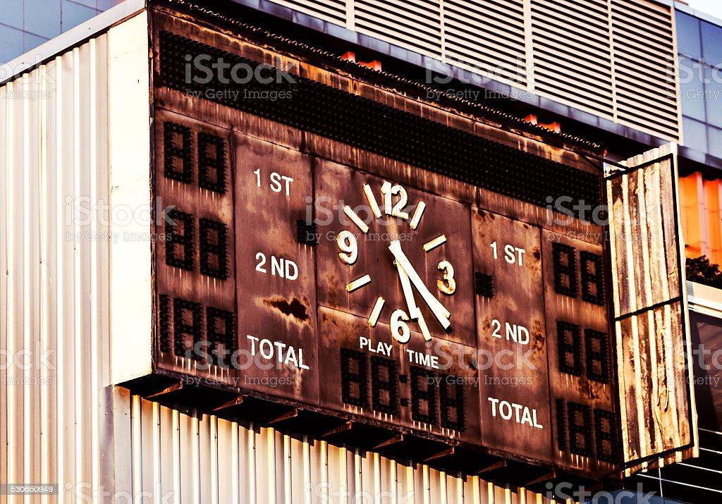 / Moldy soccer scoreboard stock photo