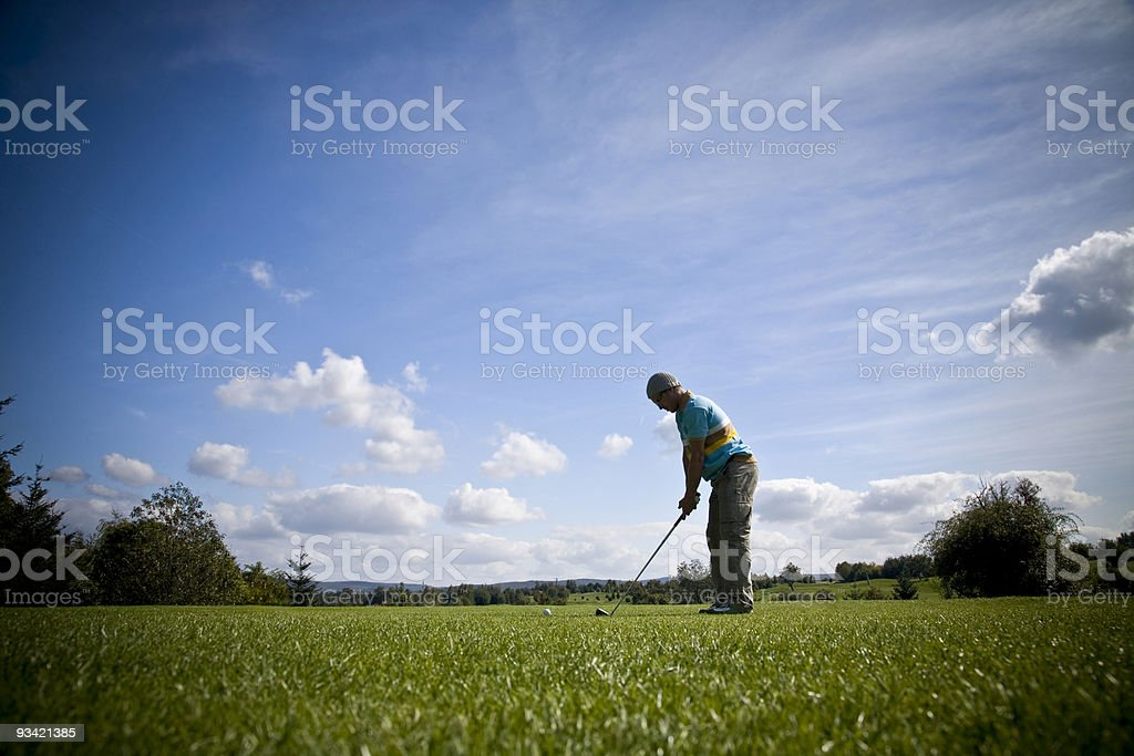 mole perspective on golf course royalty-free stock photo