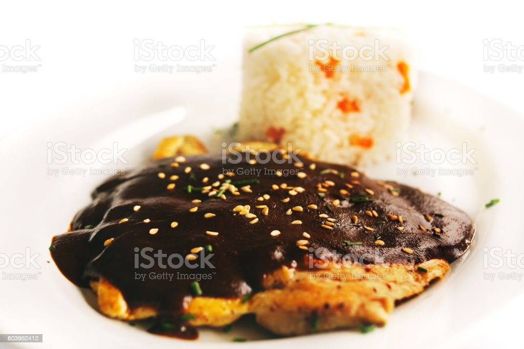 mole poblano is mexican food stock photo