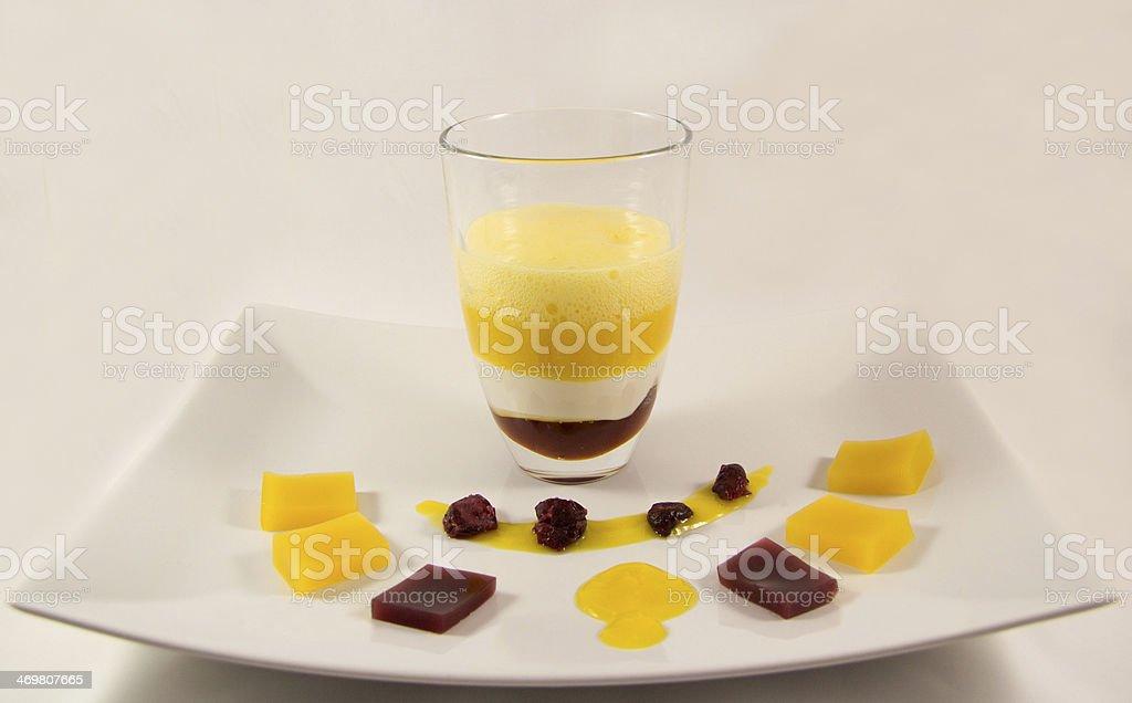 Molecular dessert with mango and yoghurt royalty-free stock photo