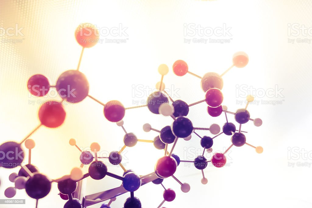 Molecular, DNA and atom model in science research lab stock photo