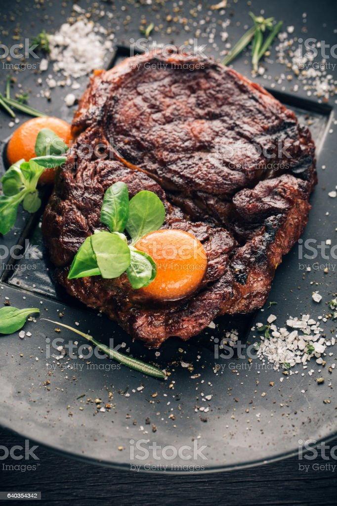 Molecular Kitchen. Stake and Spheres from Sauce and Spice stock photo