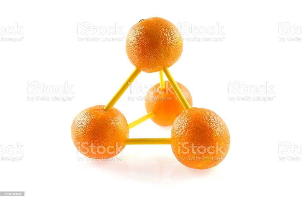 molecular model made of oranges stock photo