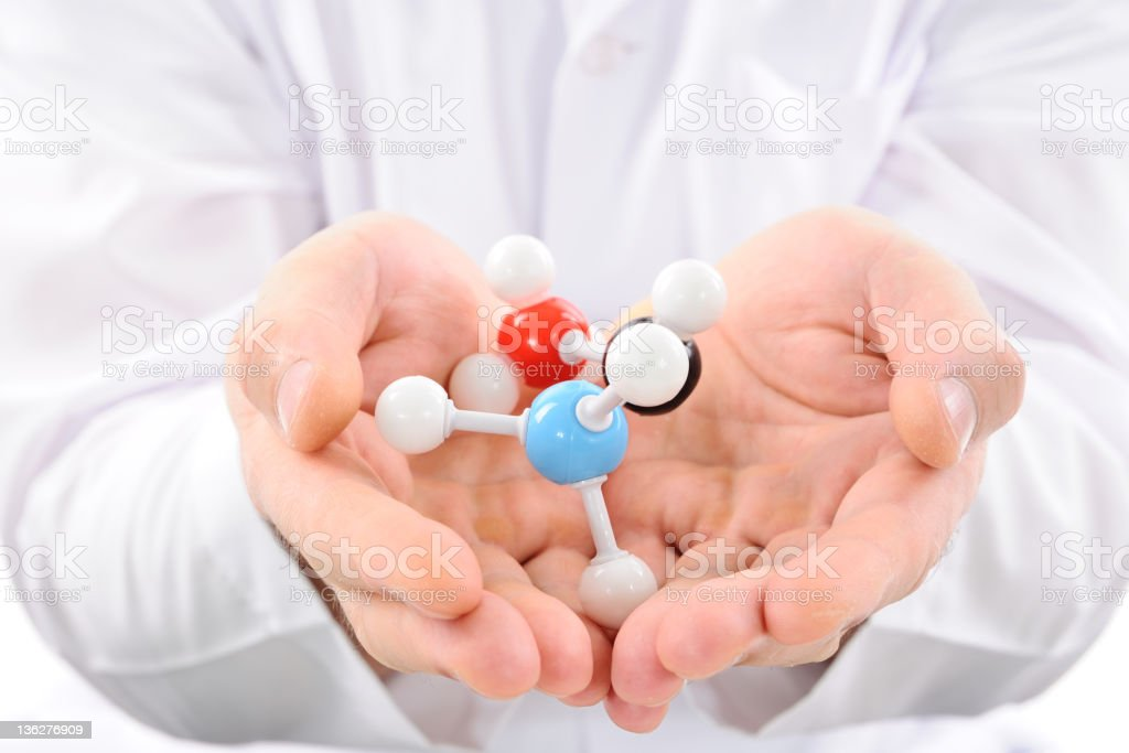 Molecular structure in hands royalty-free stock photo