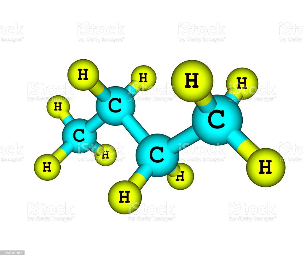 Molecular structure of butane on white stock photo