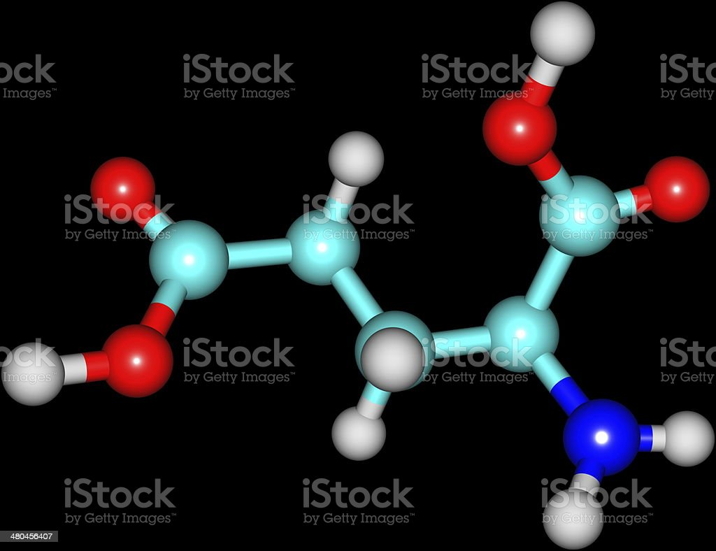 Molecular structure of Glutamic Acid isolated on black background stock photo