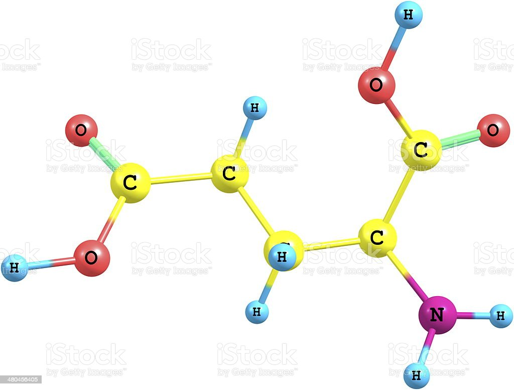 Molecular structure of Glutamic Acid isolated on white background stock photo