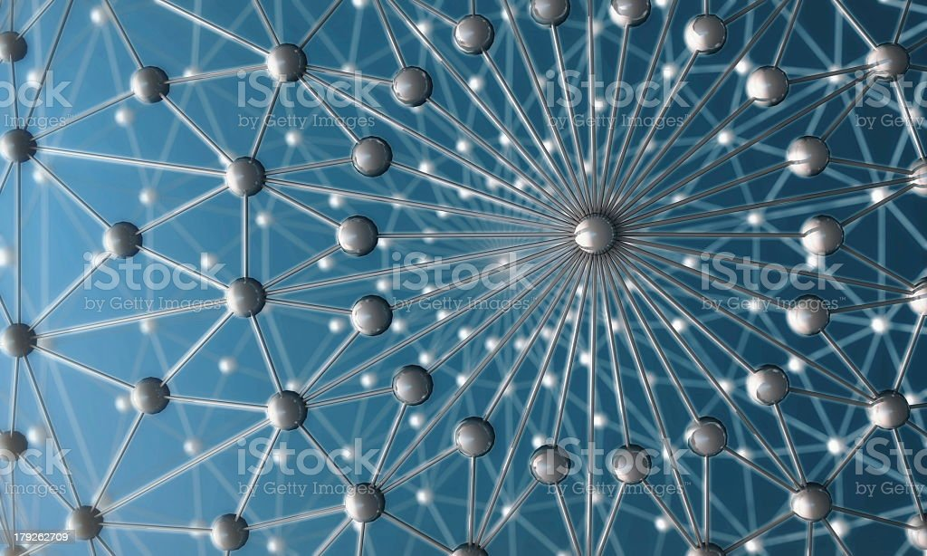 Molecular structure on a blue background stock photo