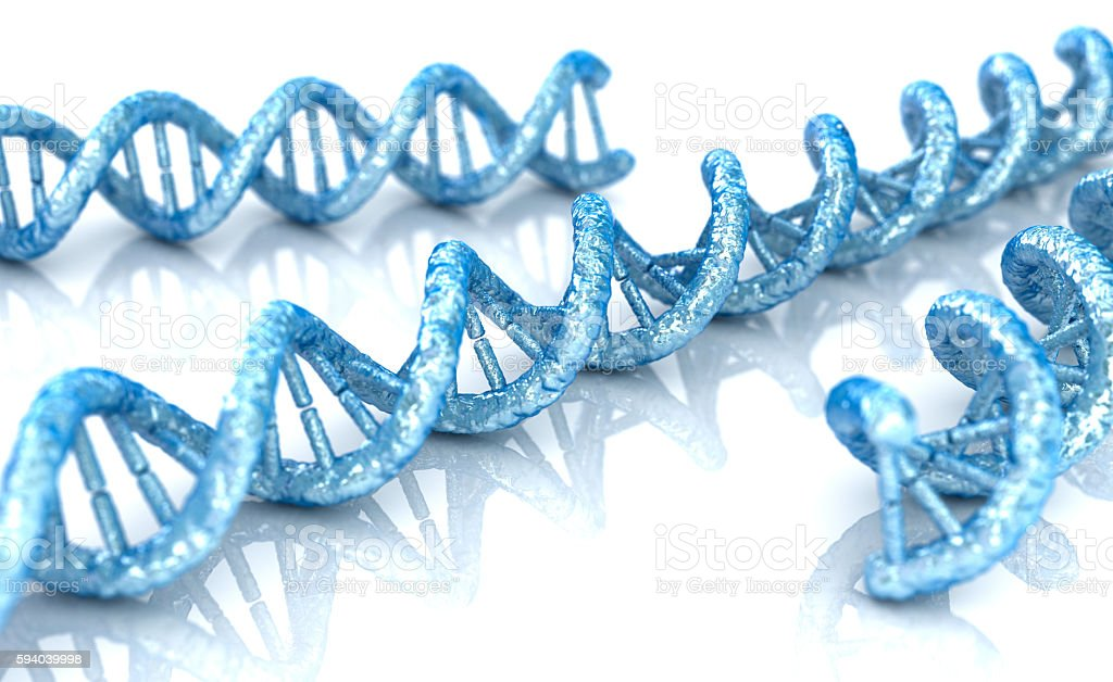 DNA  molecule concept of biochemistry on white background stock photo