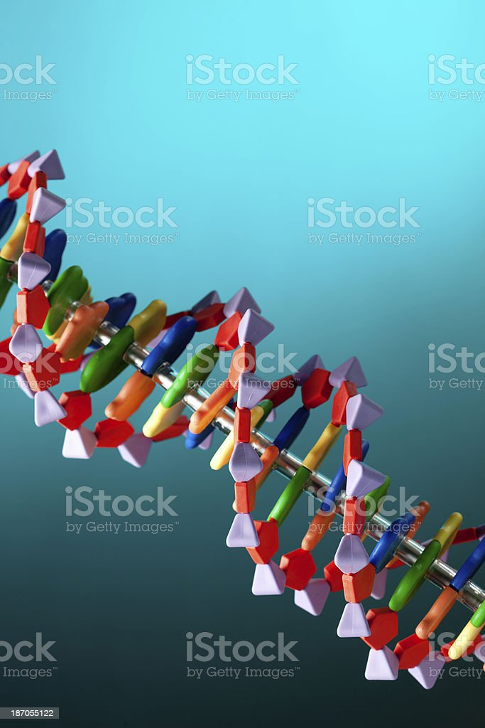 DNA Molecule Double Helix Structure in Blue Glow Close-up stock photo