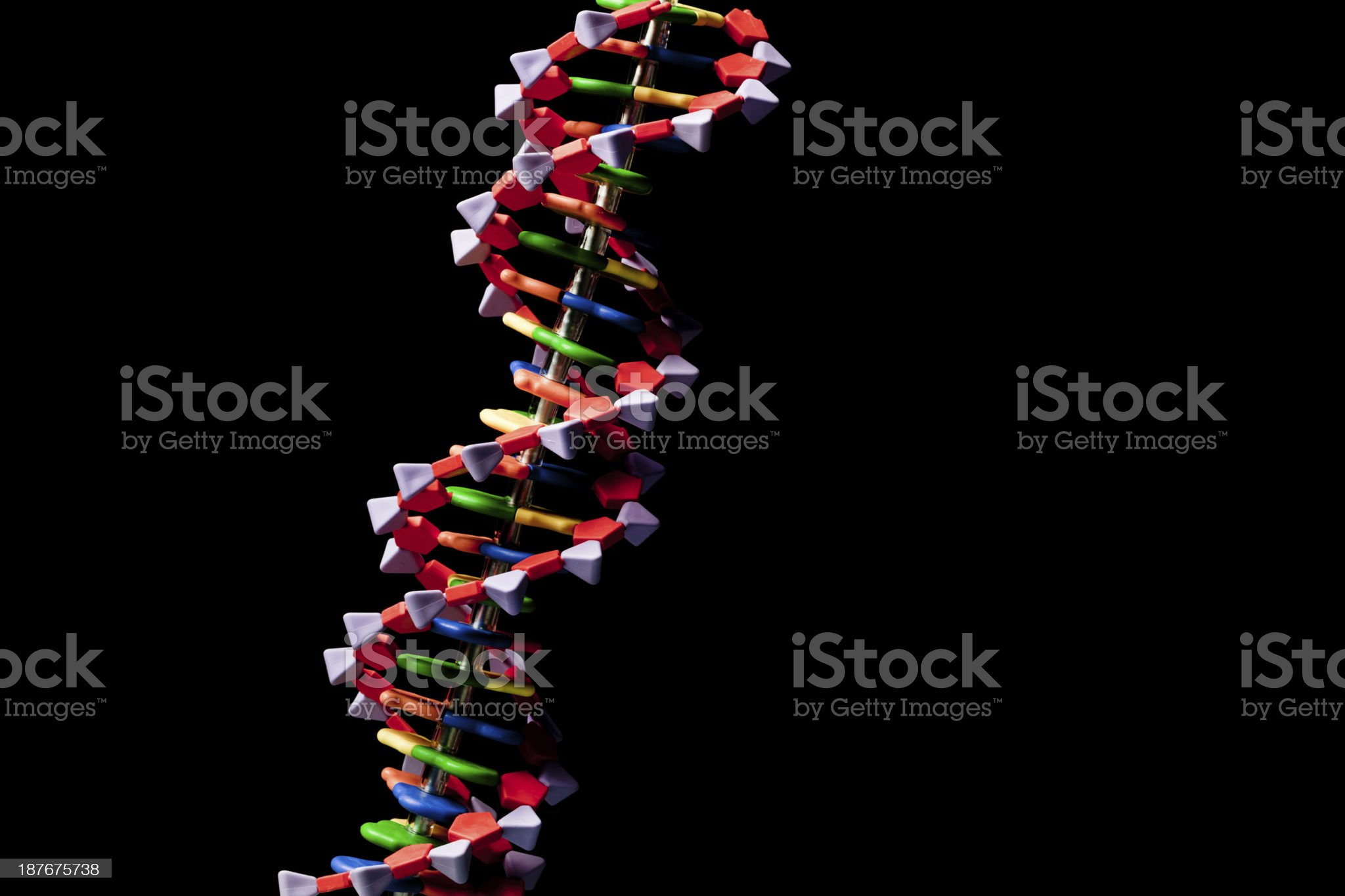 DNA Molecule Double Helix Structure Isolated in Black Background Horizontal royalty-free stock photo