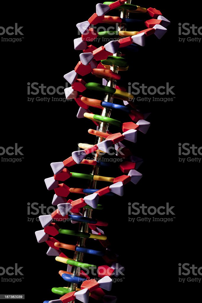 DNA Molecule Double Helix Structure Isolated in Black Background Vertical stock photo