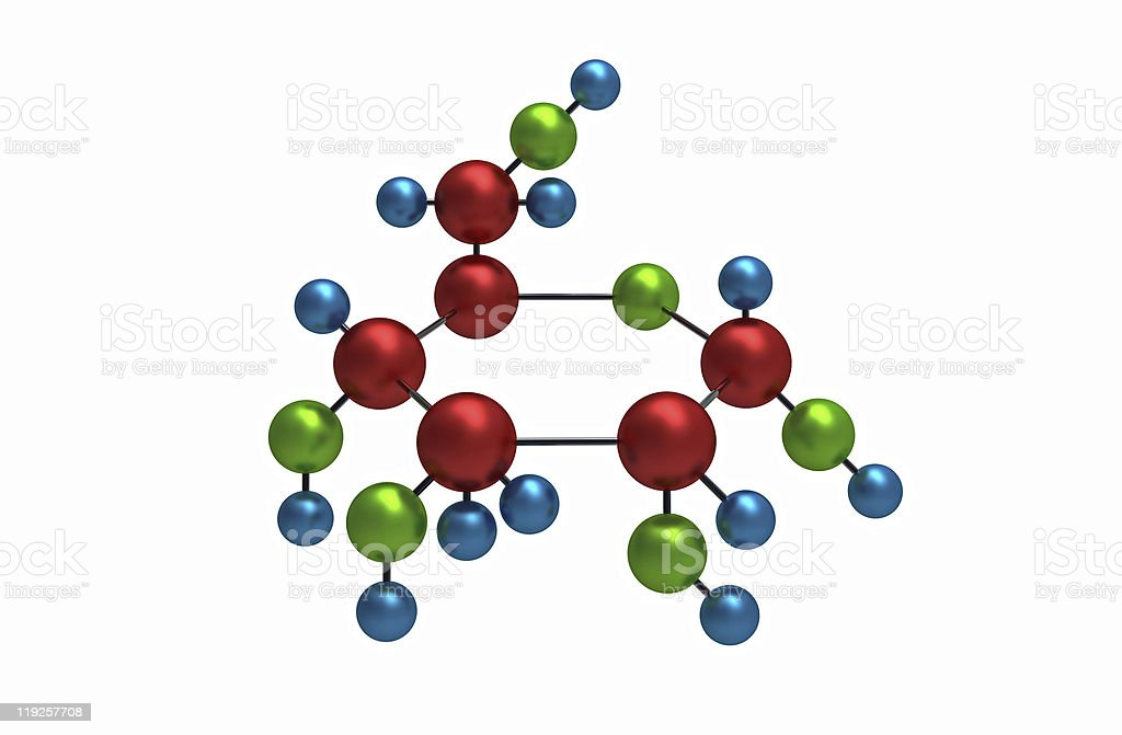 Molecule of glucose stock photo