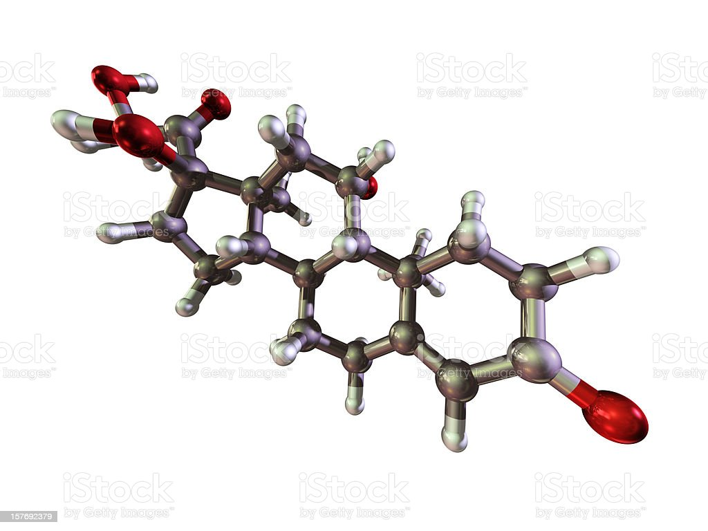 Molecule of Hydrocortisone royalty-free stock photo