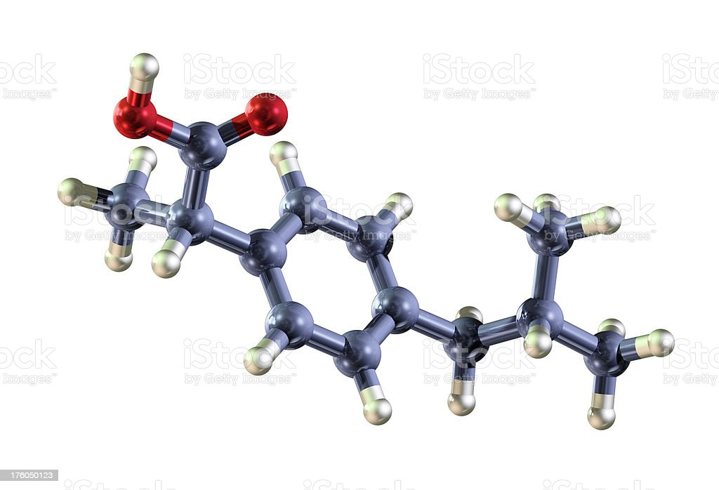 Molecule of Ibuprofen royalty-free stock photo