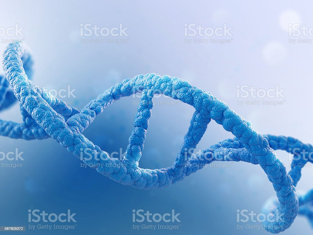 DNA molecule on blue background stock photo