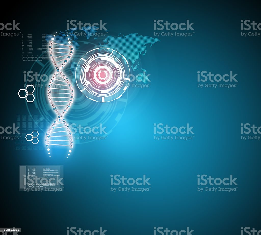 DNA molecule on blue vector art illustration