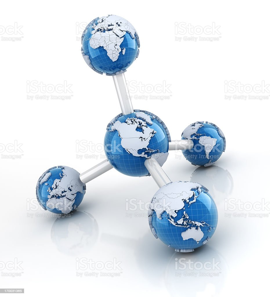 Molecule with Earth models royalty-free stock photo