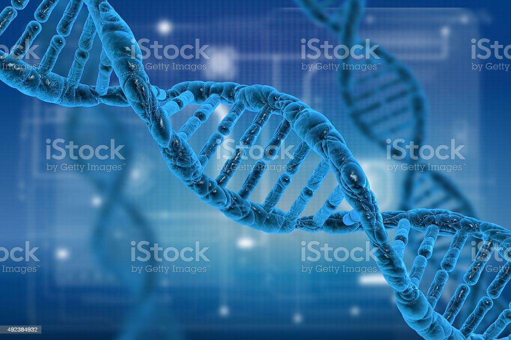 DNA molecules on science background stock photo