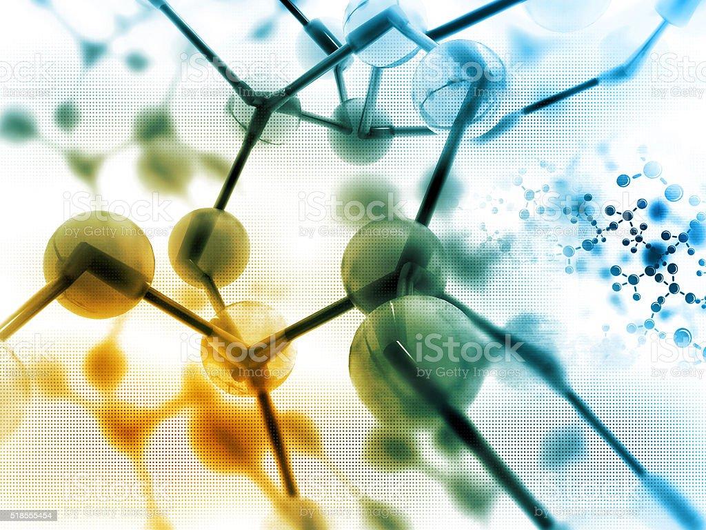 Molecules on scientific background stock photo