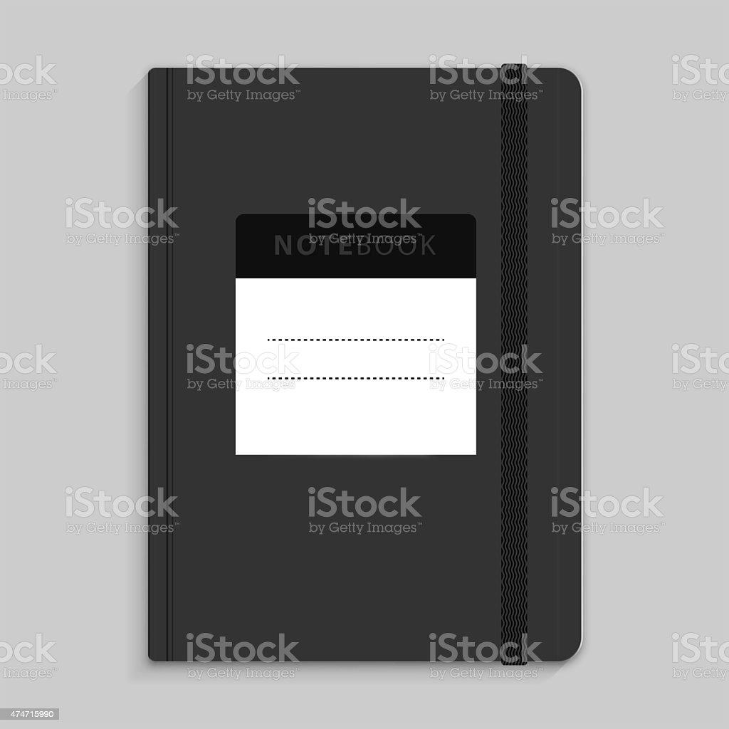 Moleskin notebook with black elastic band image stock photo