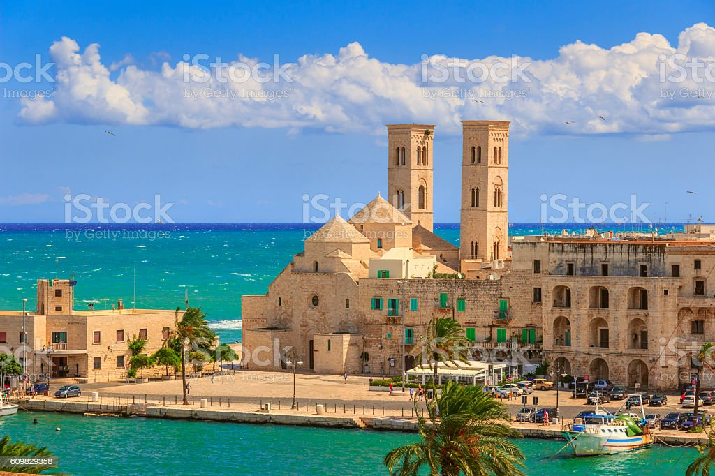 Molfetta old town: the harbor and the Old Cathedral .ITALY(Apulia). stock photo