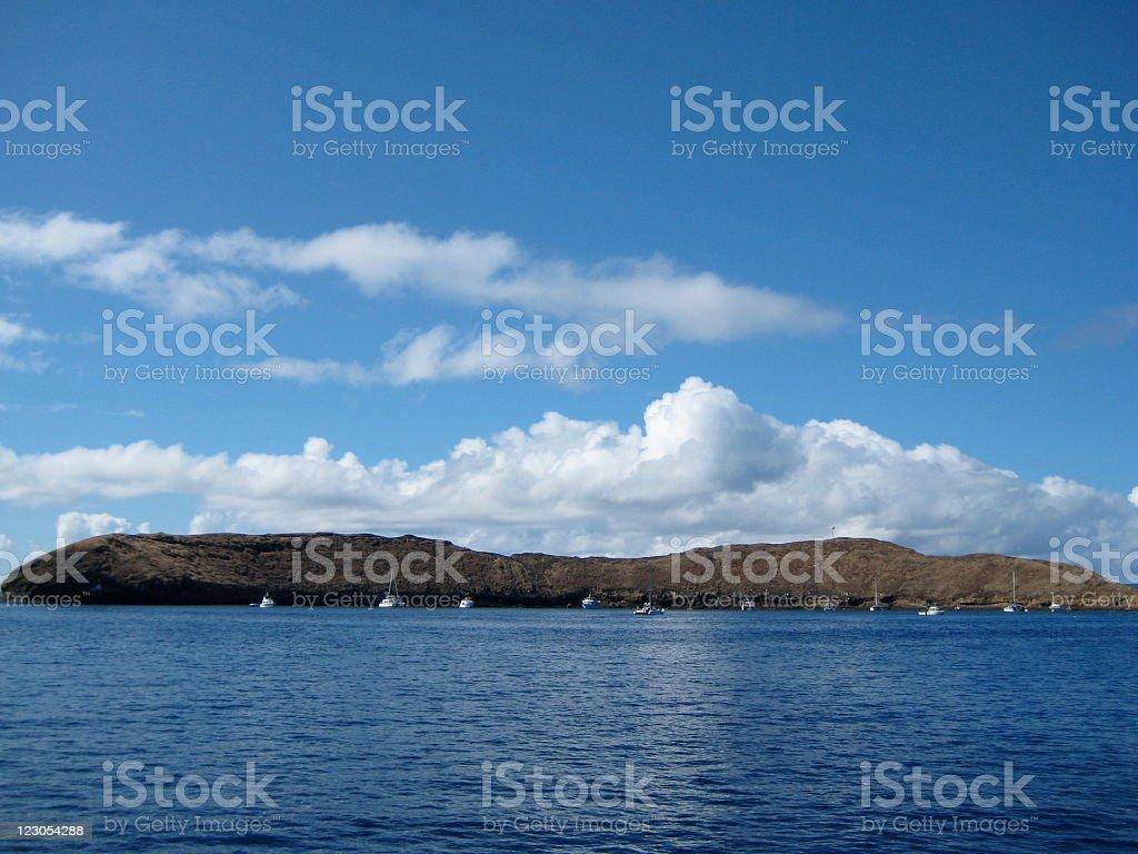 Molikini crater - Hawaii stock photo