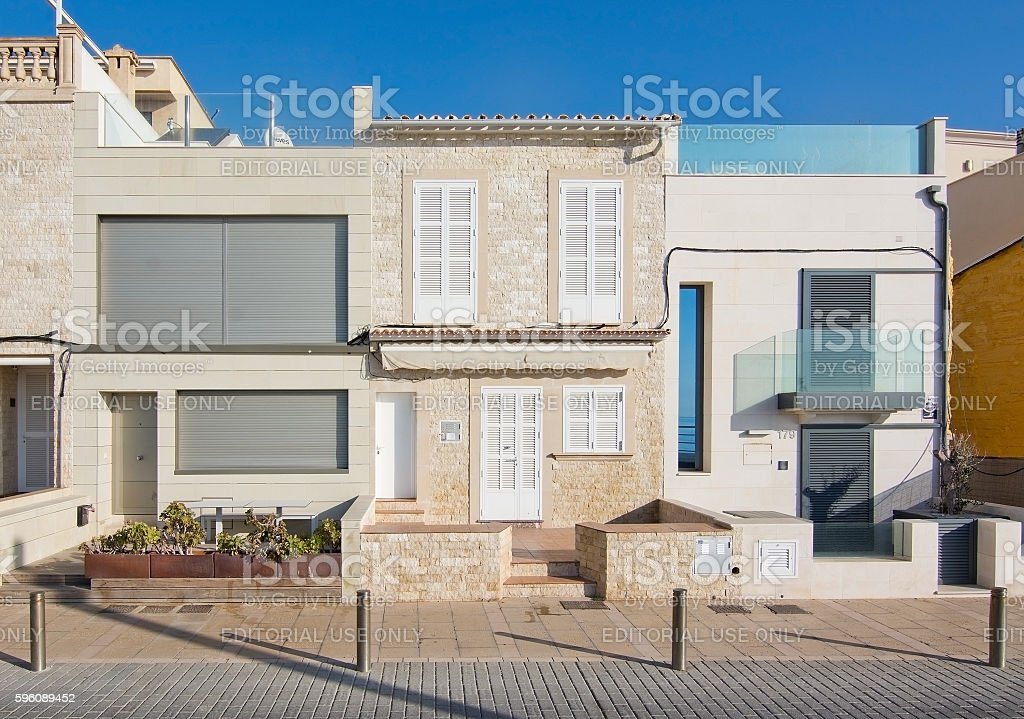 Molinar buildings in sunshine stock photo