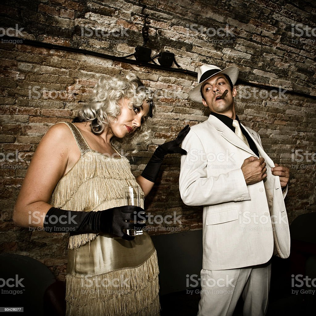 moll and mobster stock photo