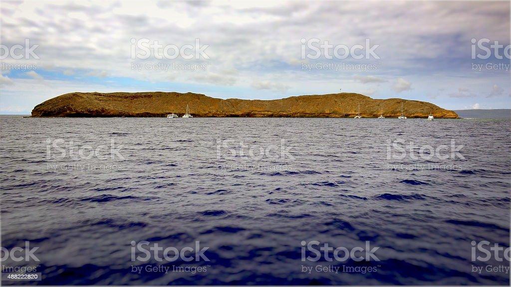 Molokini Crater Off The Island of Maui stock photo