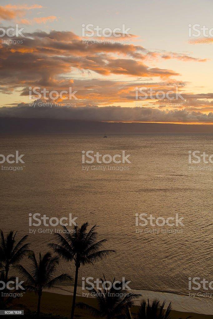 Molokini Sunset from Maui stock photo