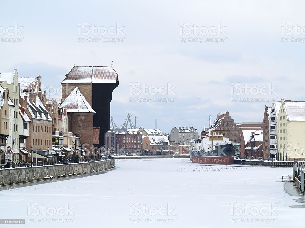 Moltawa river and the crane in Gdansk, Poland royalty-free stock photo