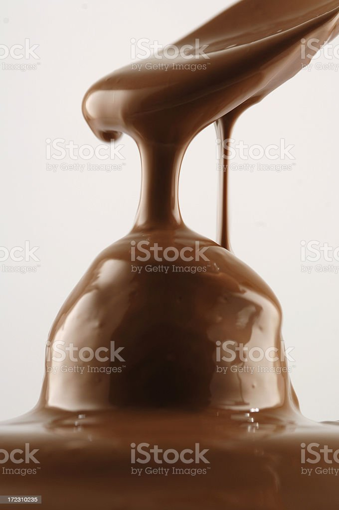 Molten Chocolate Dripping from Spoon royalty-free stock photo