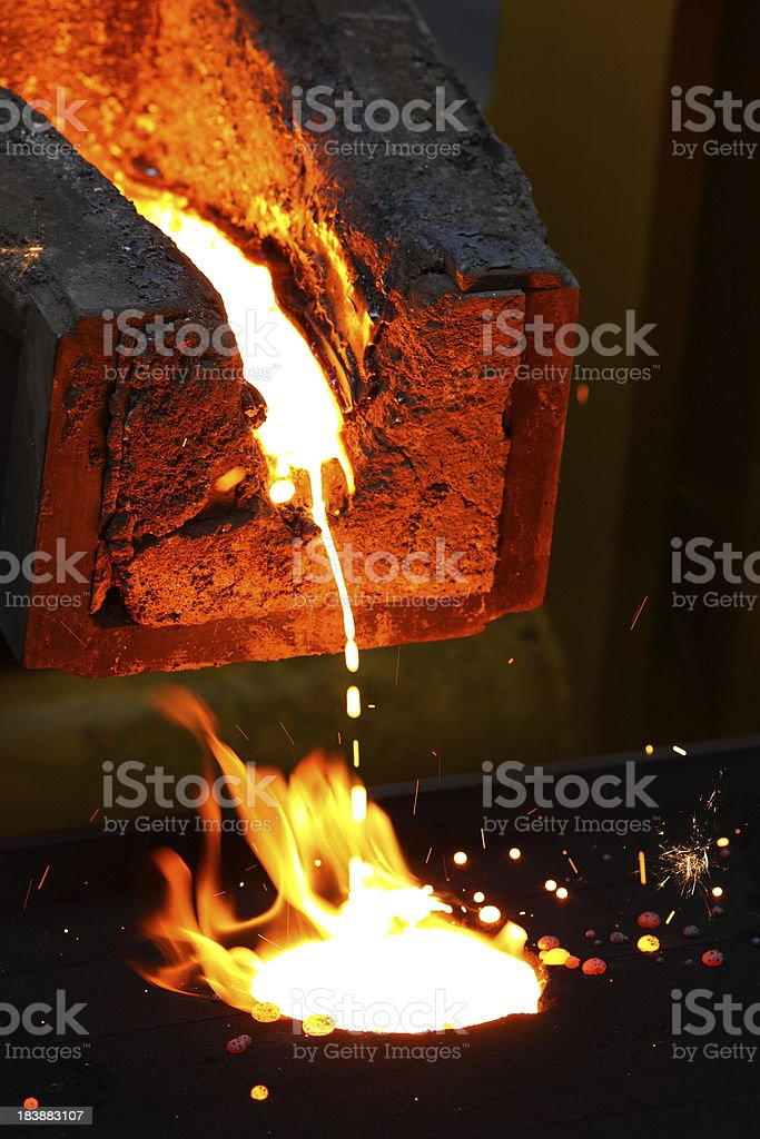 Molten metal industrial pipe in foundry stock photo